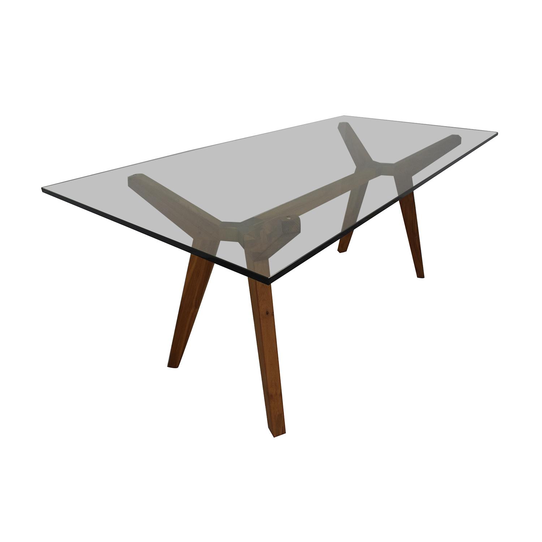 Crate & Barrel Strut Teak Glass Top Desk / Home Office Desks