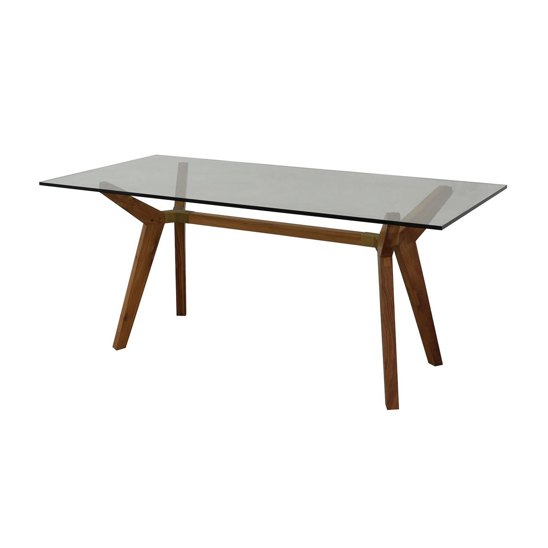 Crate & Barrel Crate & Barrel Strut Teak Glass Top Desk for sale