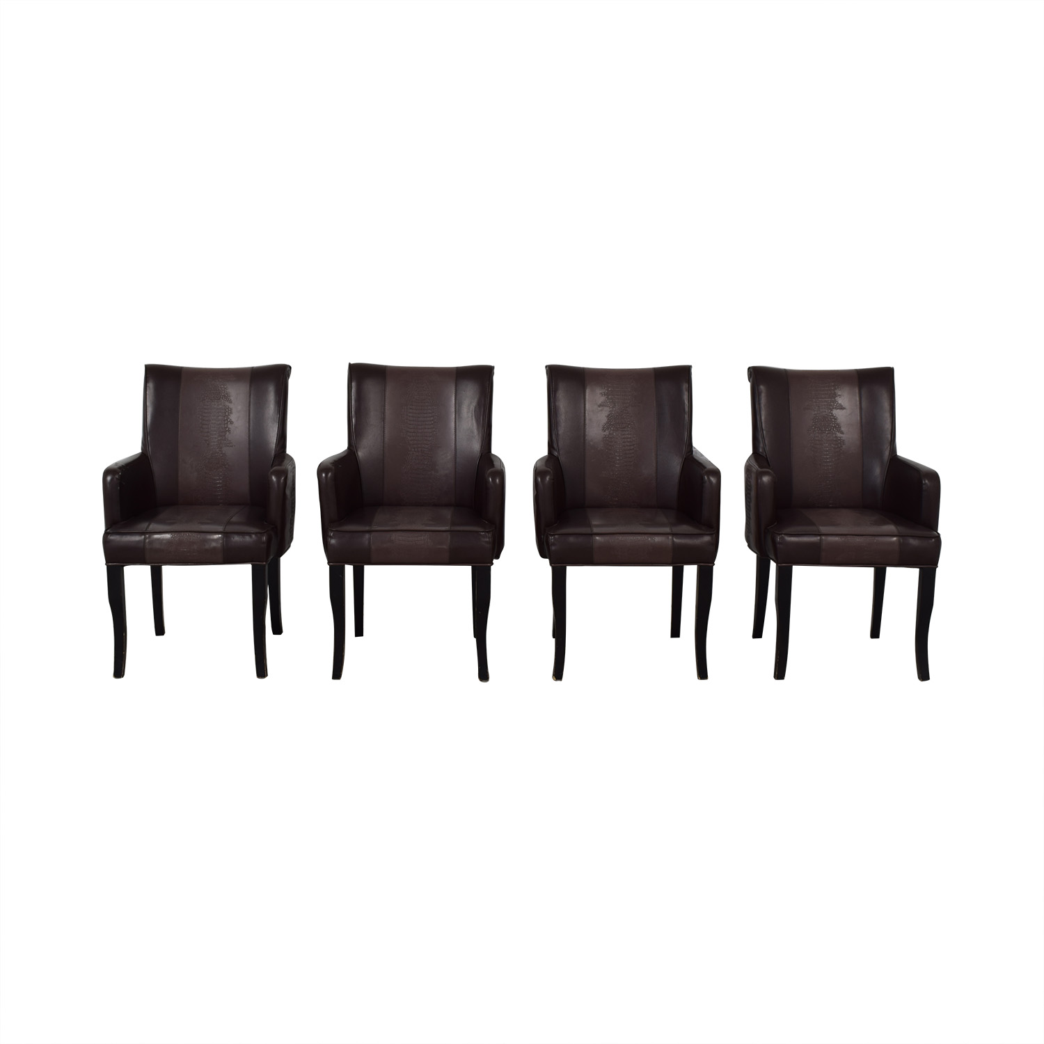 Bloomingdale's Bloomingdale's Brown Leather Dining Chairs discount