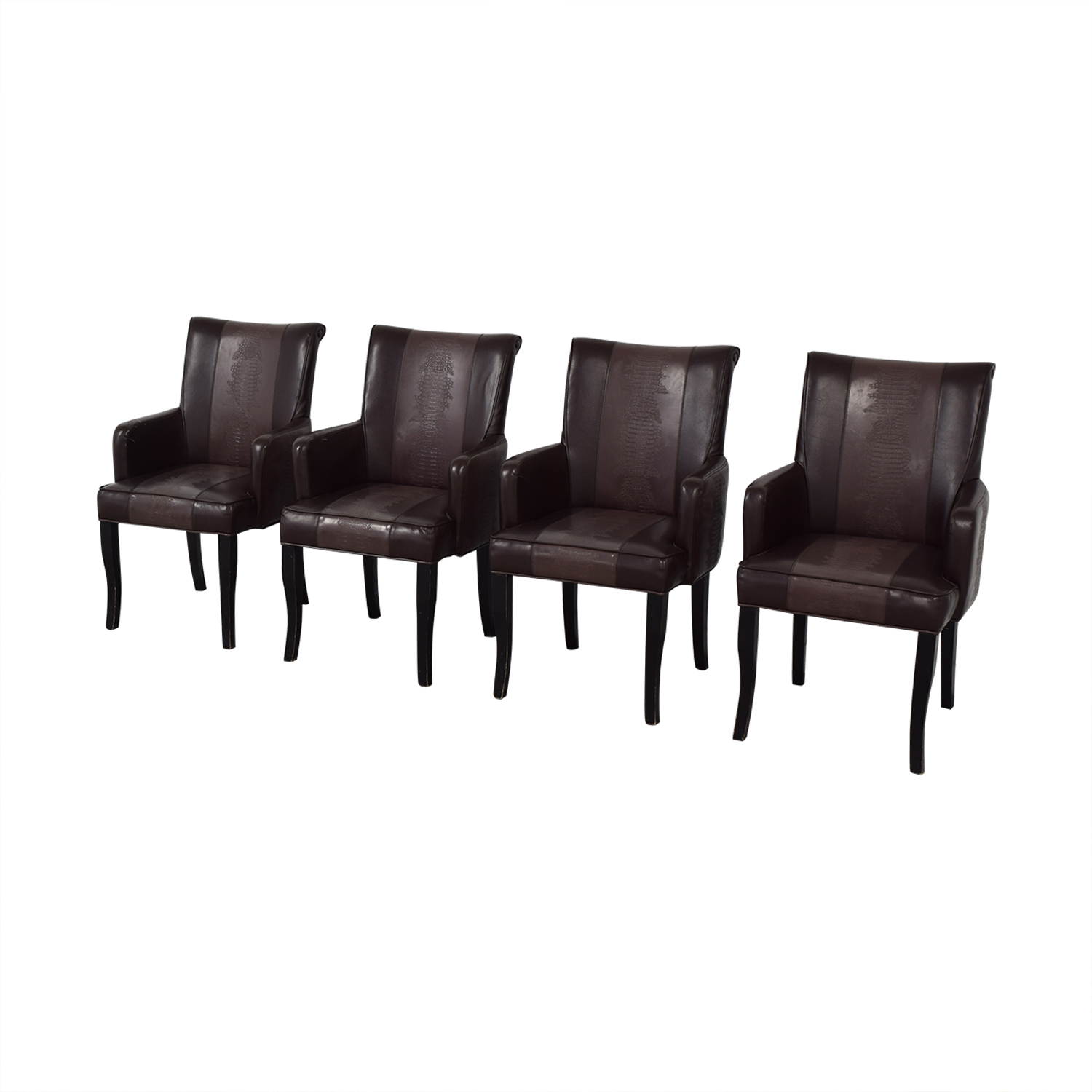 Bloomingdale's Brown Leather Dining Chairs sale
