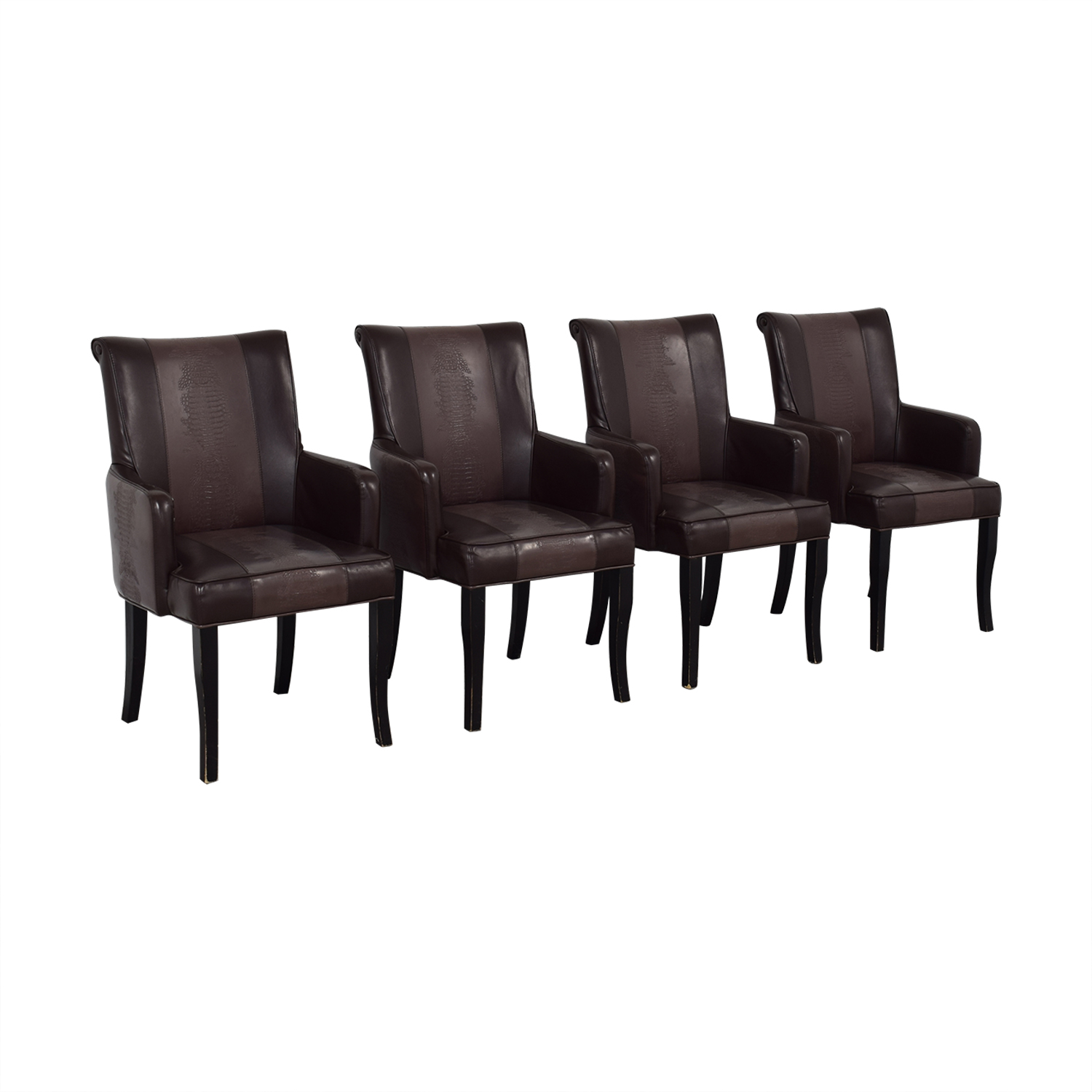 Bloomingdale's Bloomingdale's Brown Leather Dining Chairs Dining Chairs