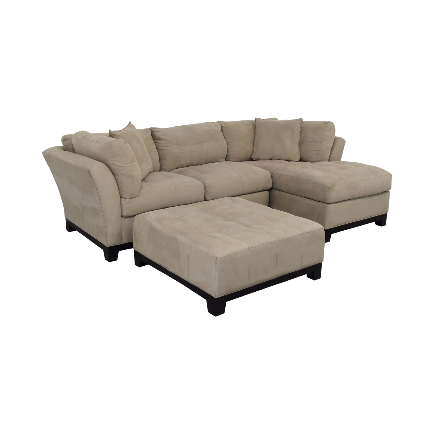 shop Raymour & Flanigan Sectional Sofa with Chaise and Cocktail Ottoman Raymour & Flanigan Sofas