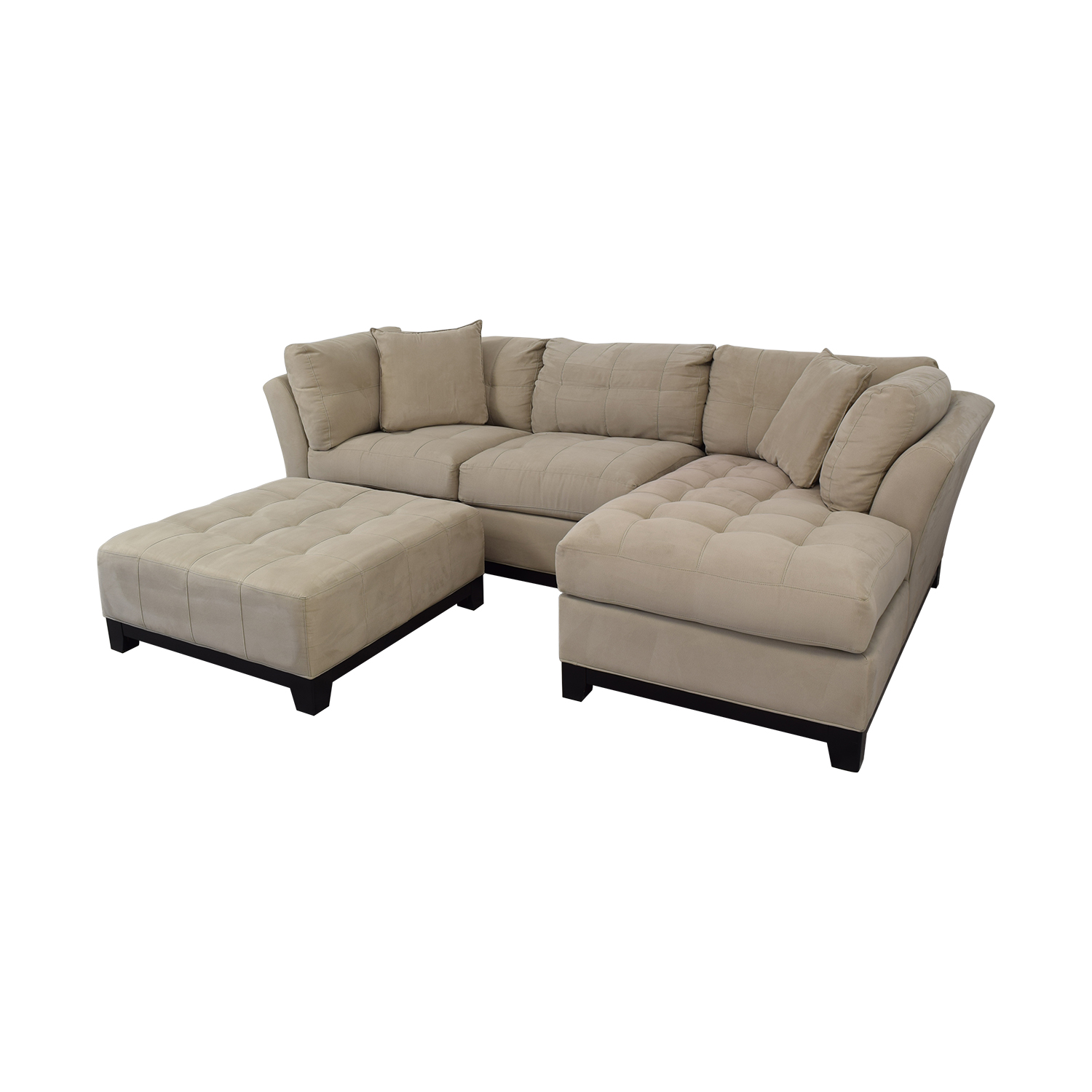 Raymour & Flanigan Raymour & Flanigan Sectional Sofa with Chaise and Cocktail Ottoman second hand