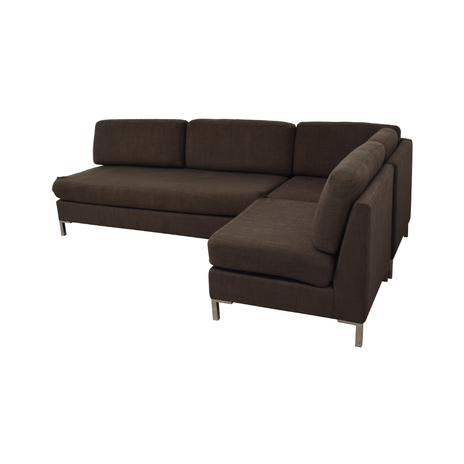 West Elm Dark Brown Sectional Sofa / Sofas