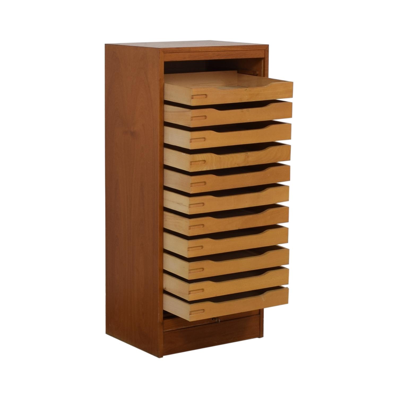 International Design Center International Design Center Teak Danish Modern Filing Cabinet Brown