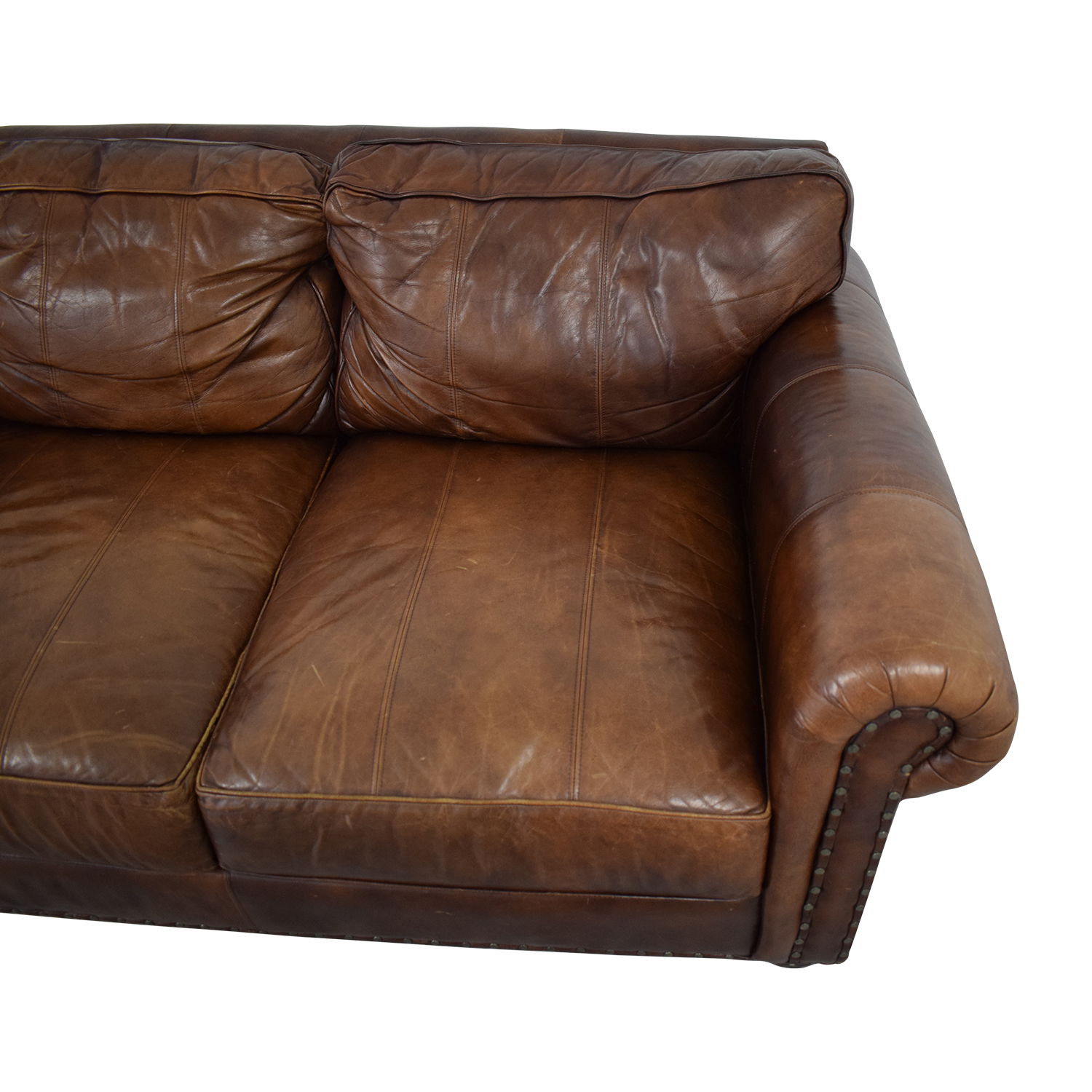 76% OFF - Ethan Allen Ethan Allen Three Cushion Roll Arm Leather Sofa /  Sofas