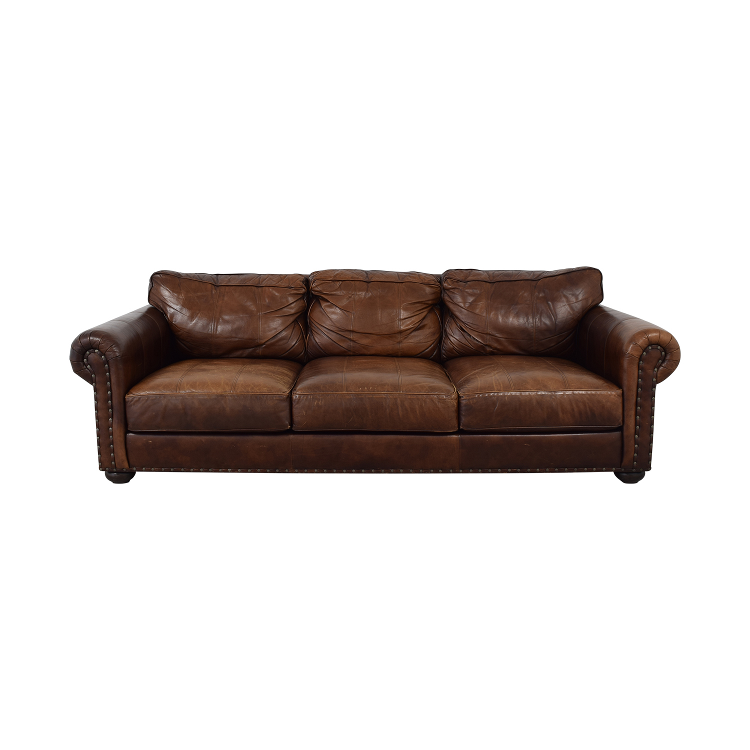 71% OFF - Ethan Allen Ethan Allen Three Cushion Roll Arm Leather ...
