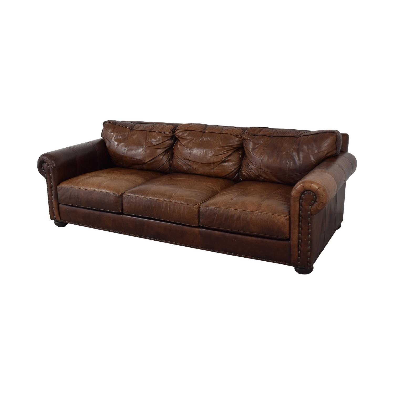 Ethan Allen Three Cushion Roll Arm Leather Sofa