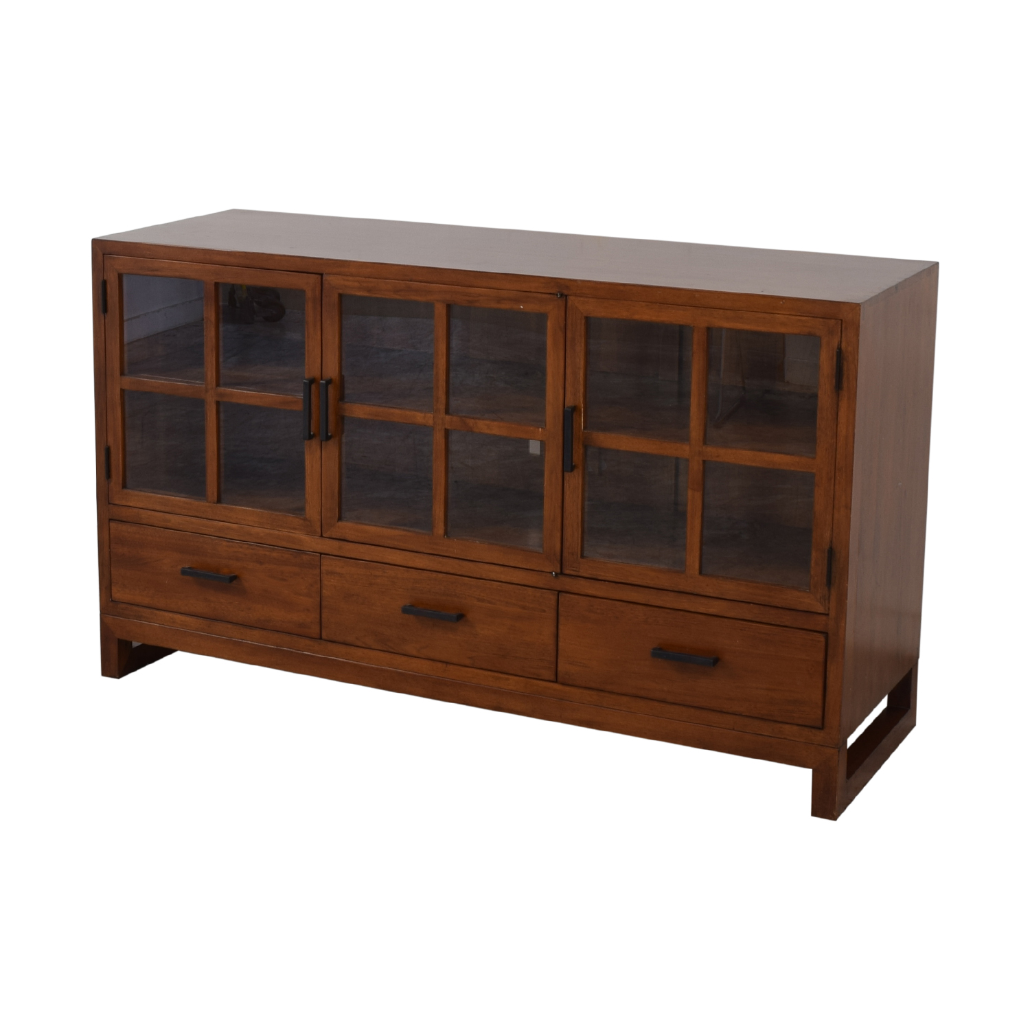 Crate & Barrel Sideboard with Glass Doors sale