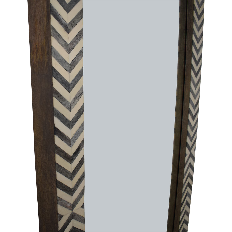 shop West Elm Parsons Floor Mirror - Gray Herringbone West Elm Mirrors