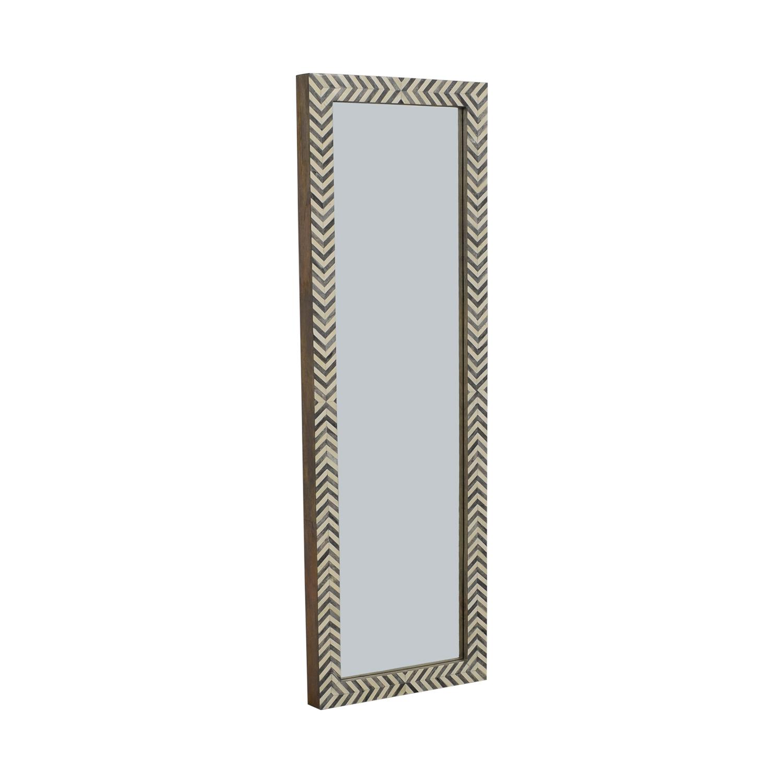 West Elm Parsons Floor Mirror - Gray Herringbone sale