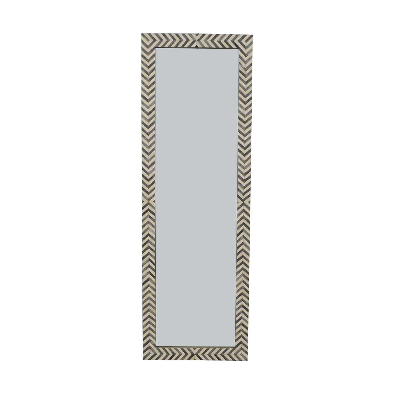 West Elm West Elm Parsons Floor Mirror - Gray Herringbone used