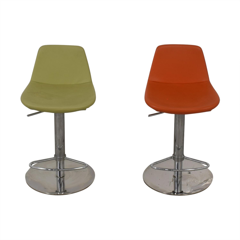 BiF Furniture BiF Furniture Orange and Green Bar Stools Olive green, Orange