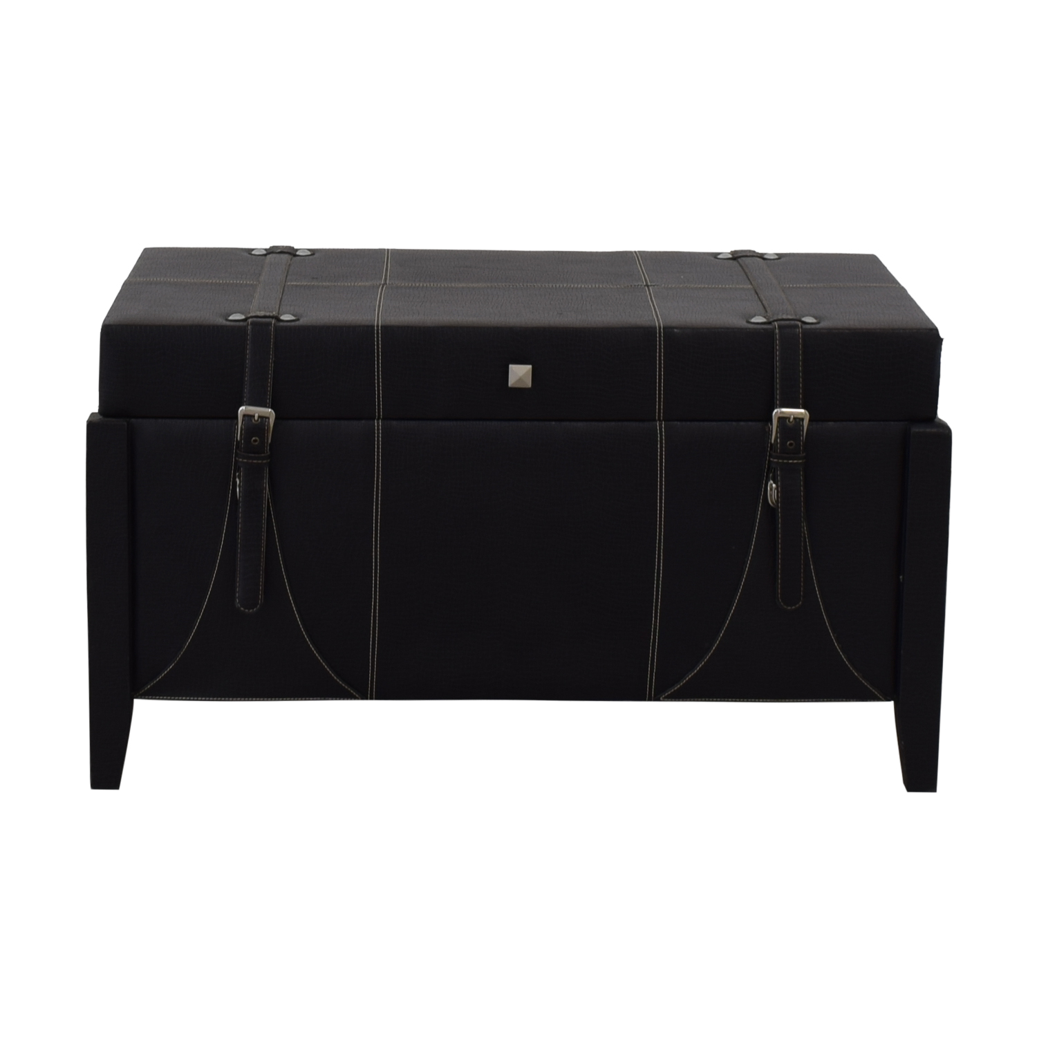Black Leather Storage Trunk second hand