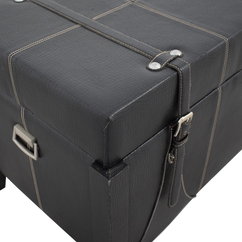 Black Leather Storage Trunk discount