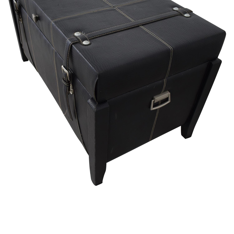 Black Leather Storage Trunk dimensions
