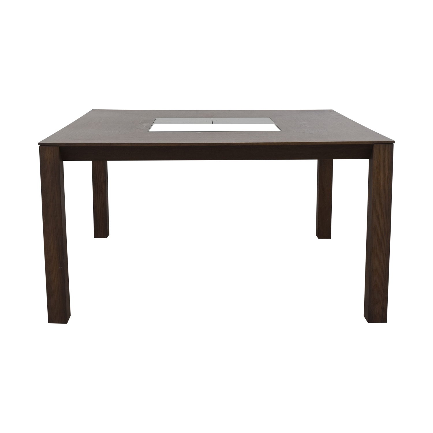Planum Planum Furniture Square Dining Table with Glass Inlay nyc