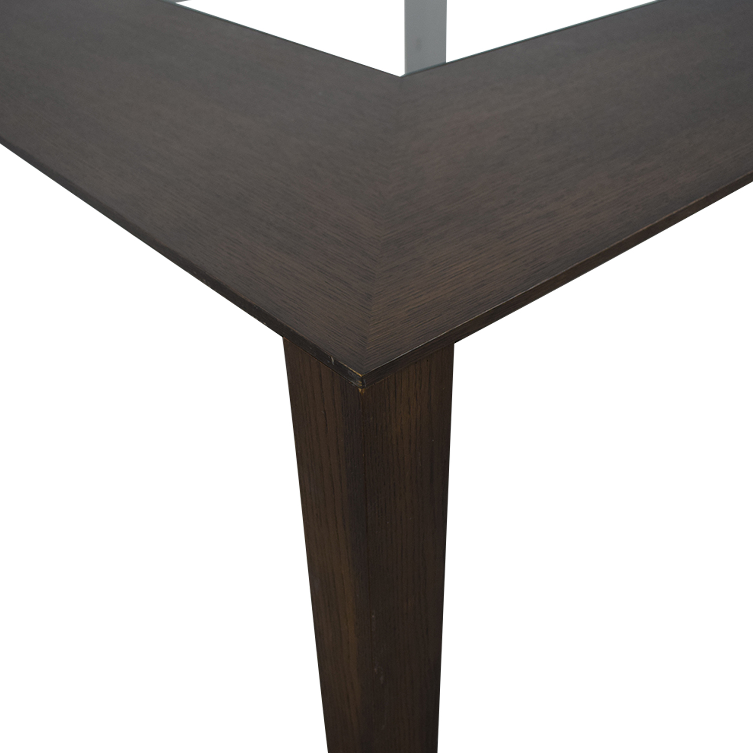 Planum Planum Furniture Square Dining Table with Glass Inlay brown
