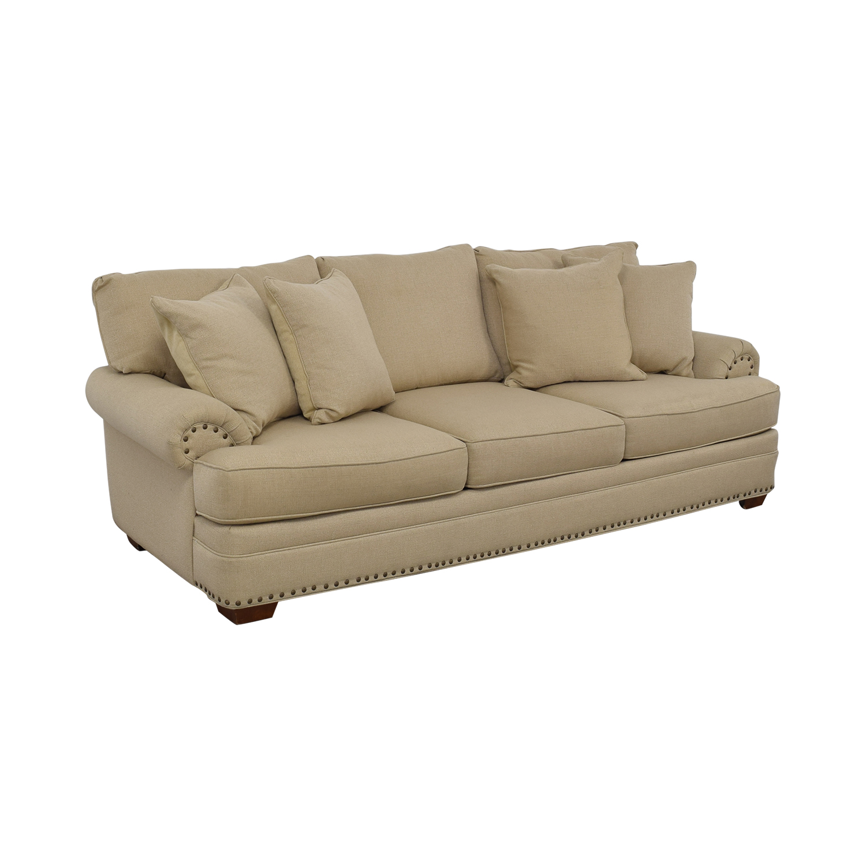 Havertys Havertys Three Cushion Fabric Roll Arm Sofa