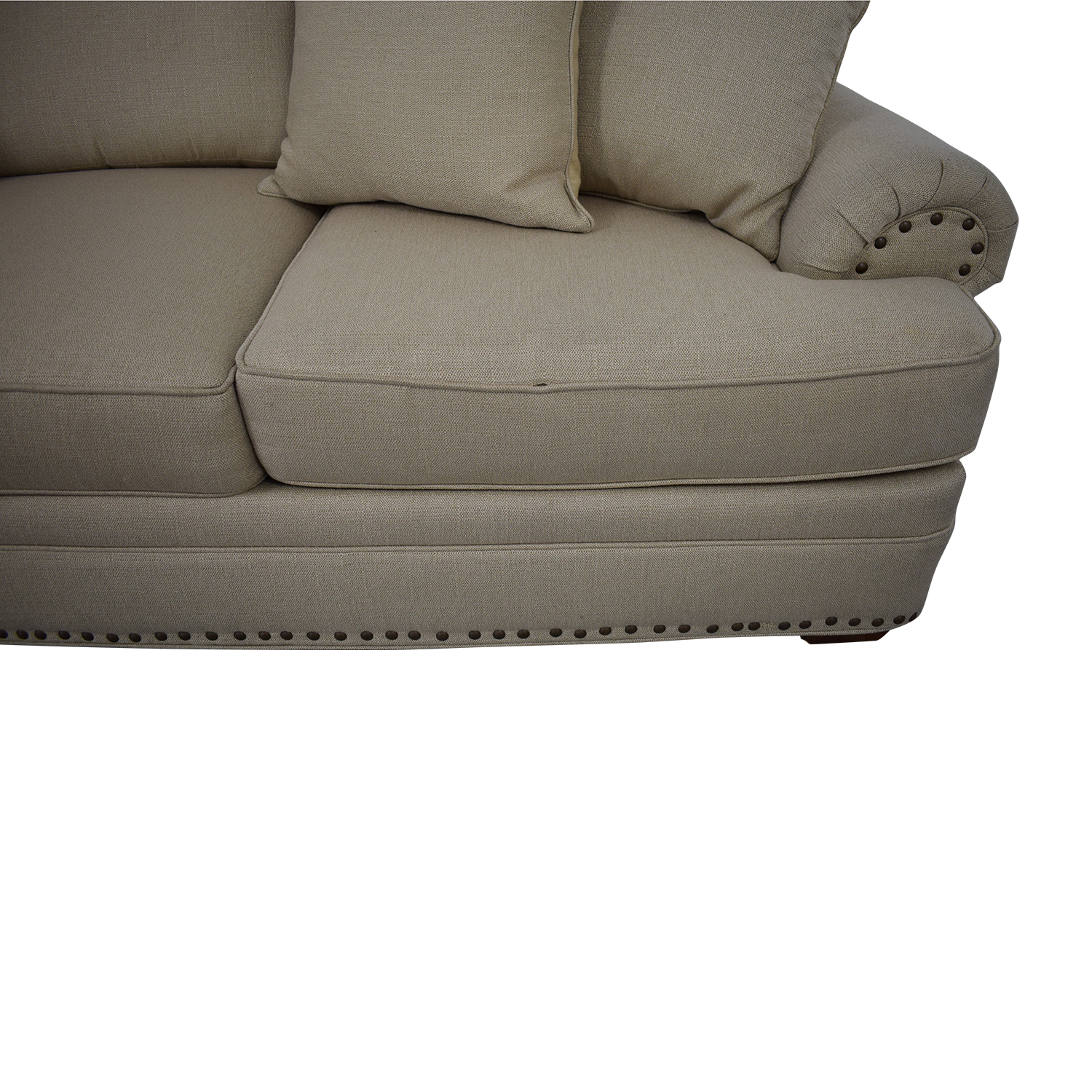 Havertys Havertys Three Cushion Fabric Roll Arm Sofa coupon