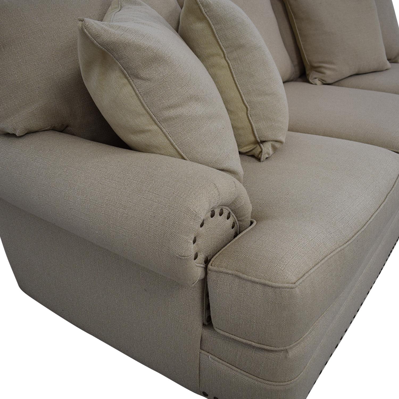 buy Havertys Three Cushion Fabric Roll Arm Sofa Havertys
