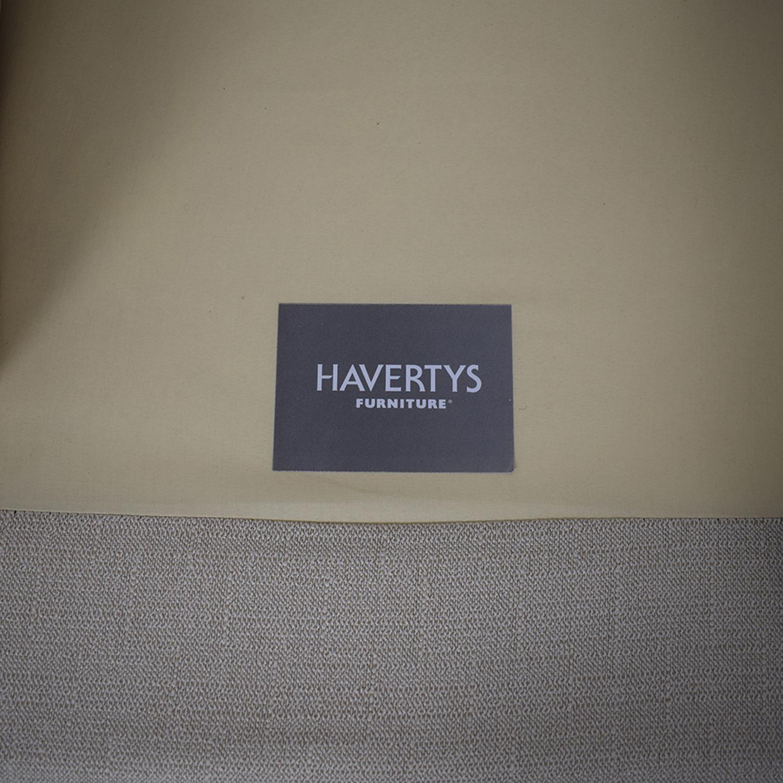 Havertys Three Cushion Fabric Roll Arm Sofa Havertys