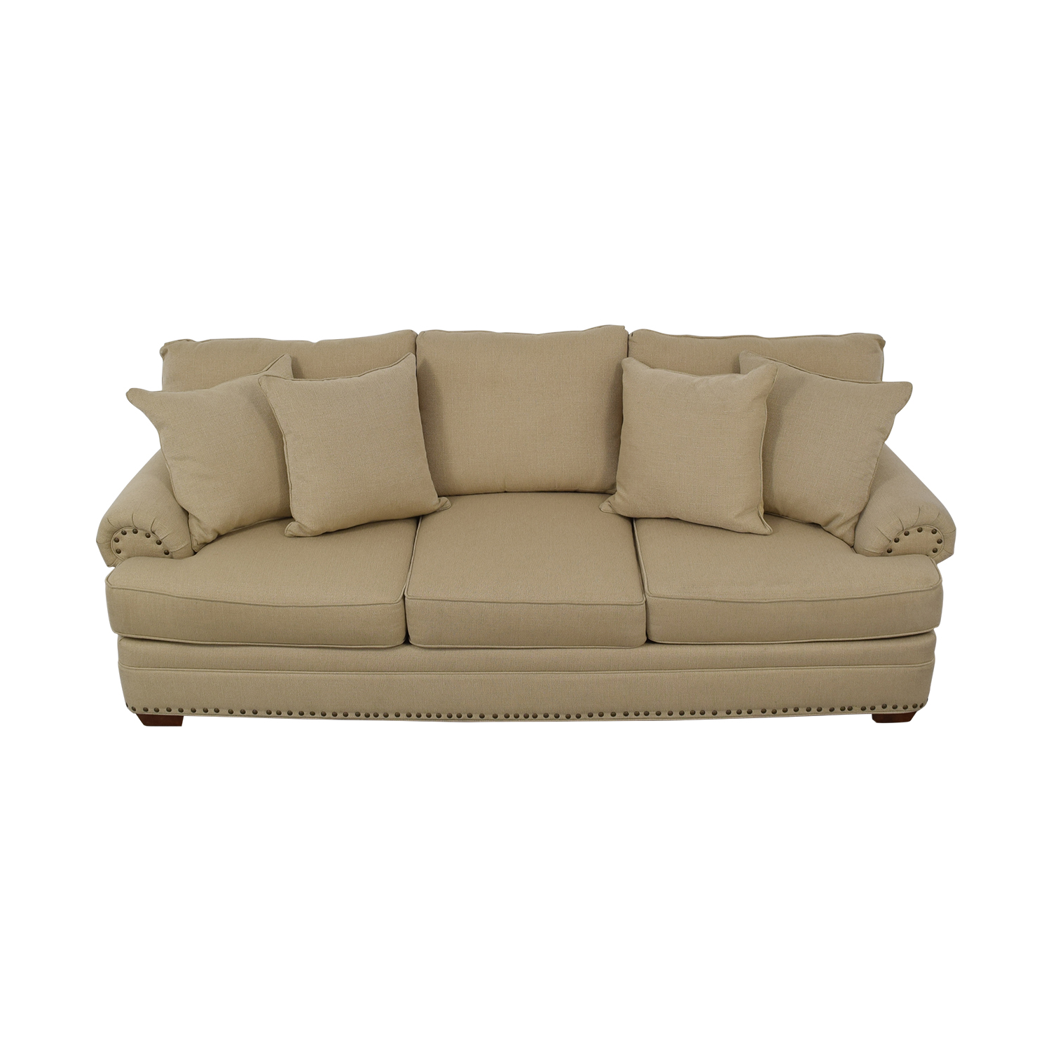 Havertys Havertys Three Cushion Fabric Roll Arm Sofa for sale