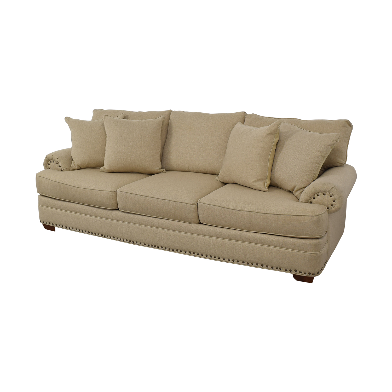 buy Havertys Three Cushion Fabric Roll Arm Sofa Havertys Classic Sofas