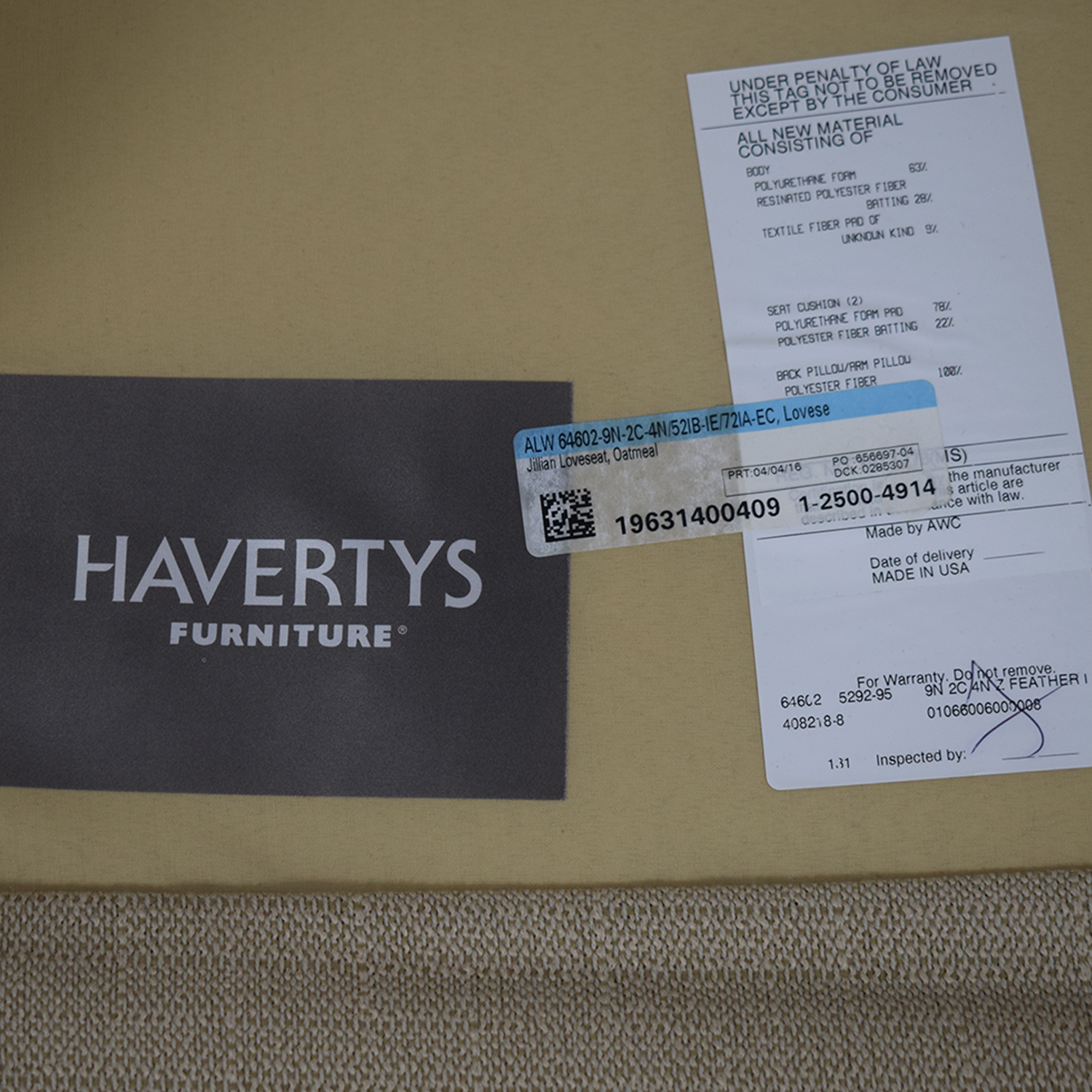 Havertys Havertys Oatmeal Jillian Loveseat Loveseats