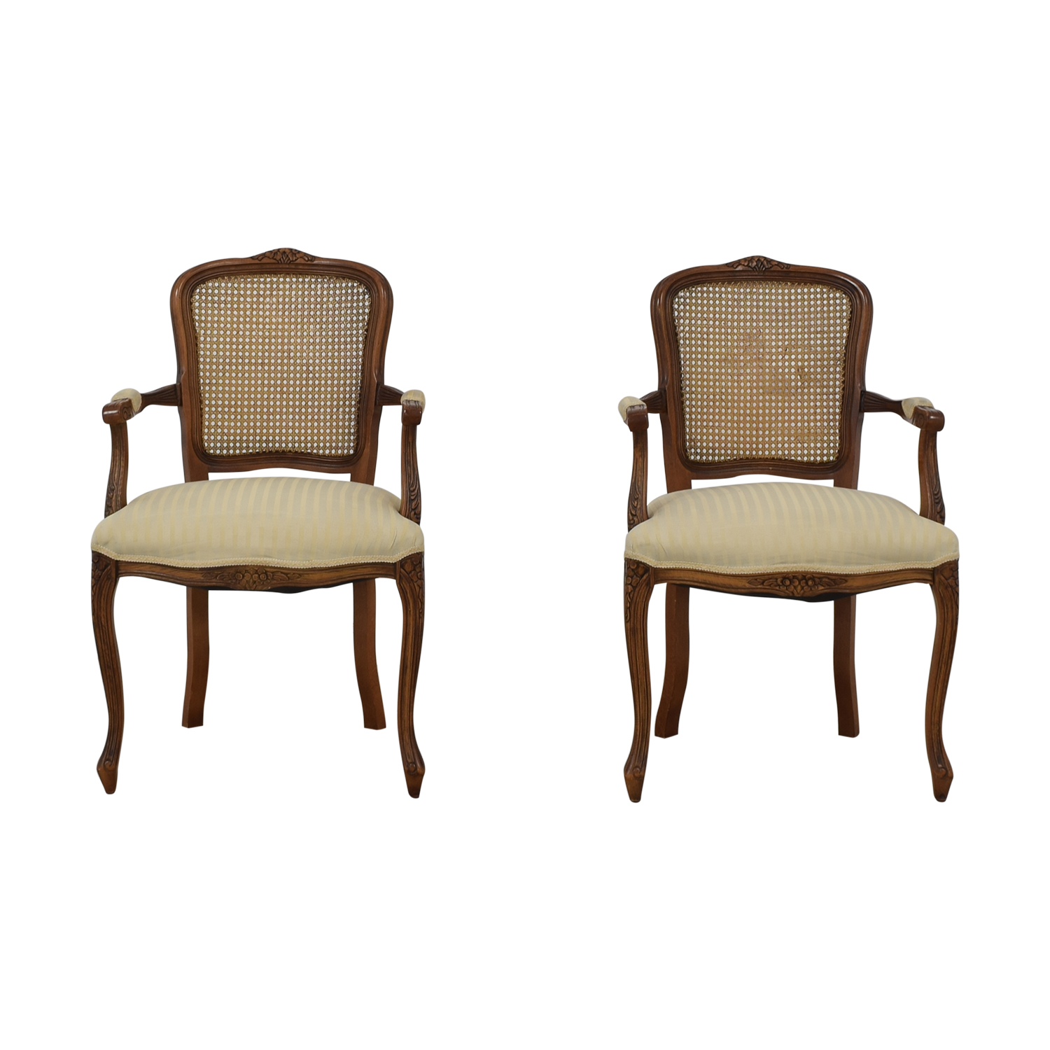 Italian Cane Back Fabric Armchairs / Chairs