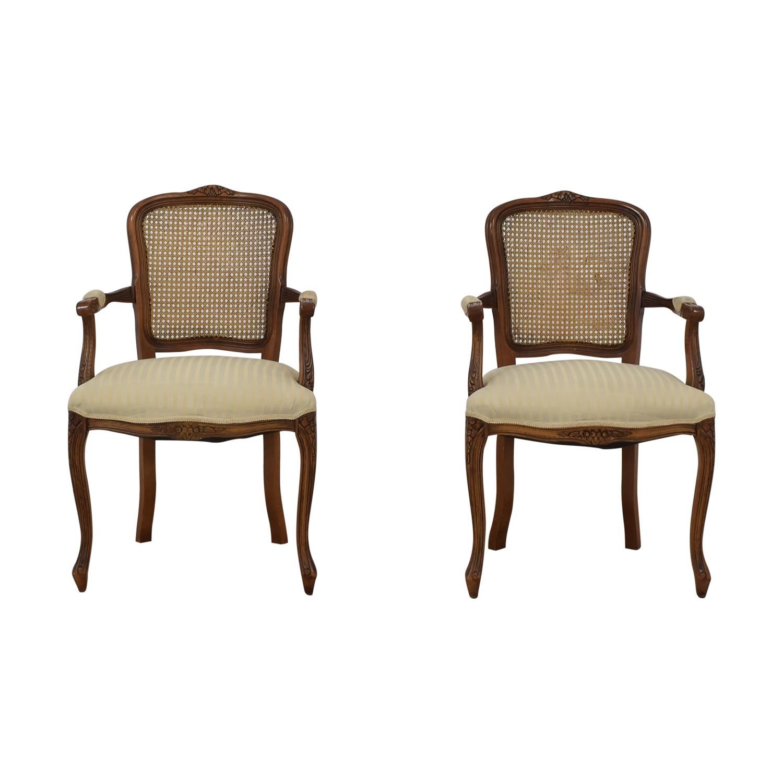 buy Italian Cane Back Fabric Armchairs