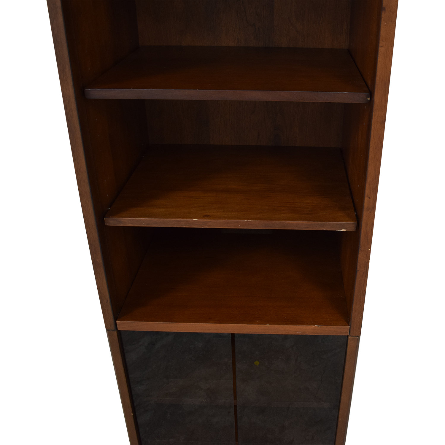 Bookcase with Glass Cabinet Brown