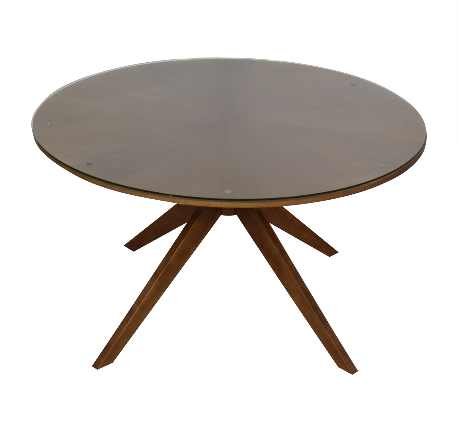 shop Article Midcentury Modern Round Table with Glass Top Article Tables