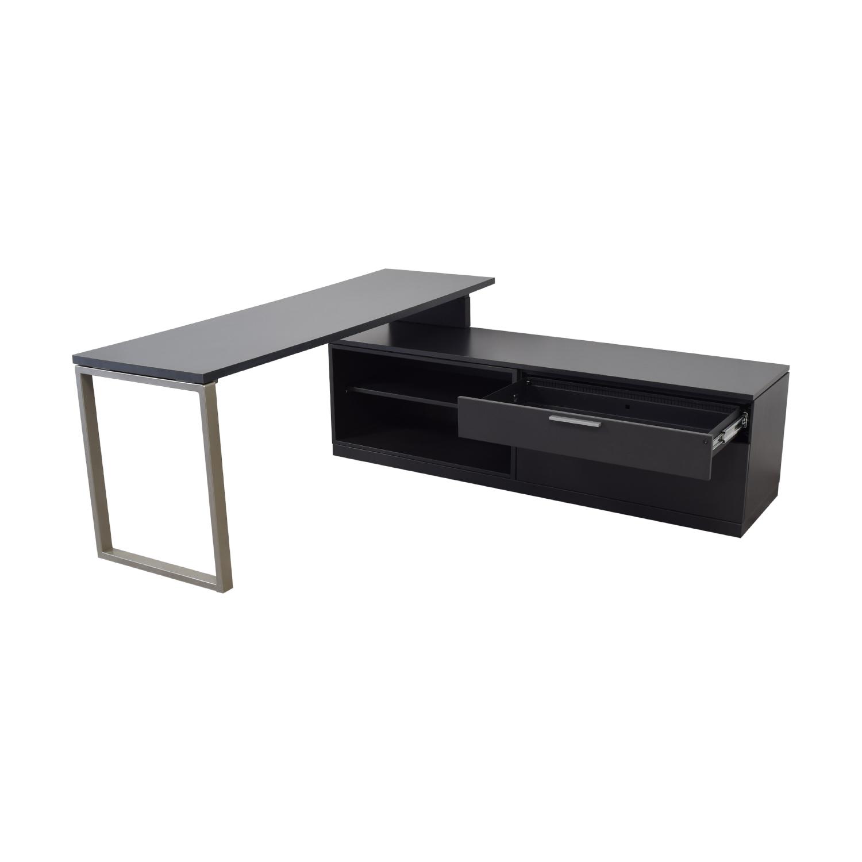 buy Herman Miller L-Shaped Workdesk and Credenza Herman Miller Home Office Desks
