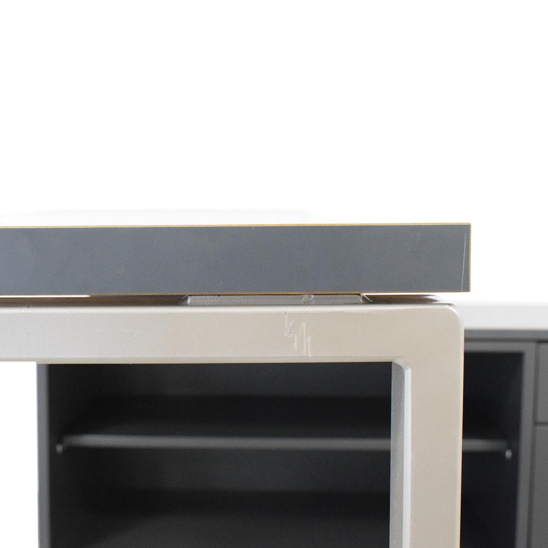 Herman Miller Herman Miller L-Shaped Workdesk and Credenza dark grey