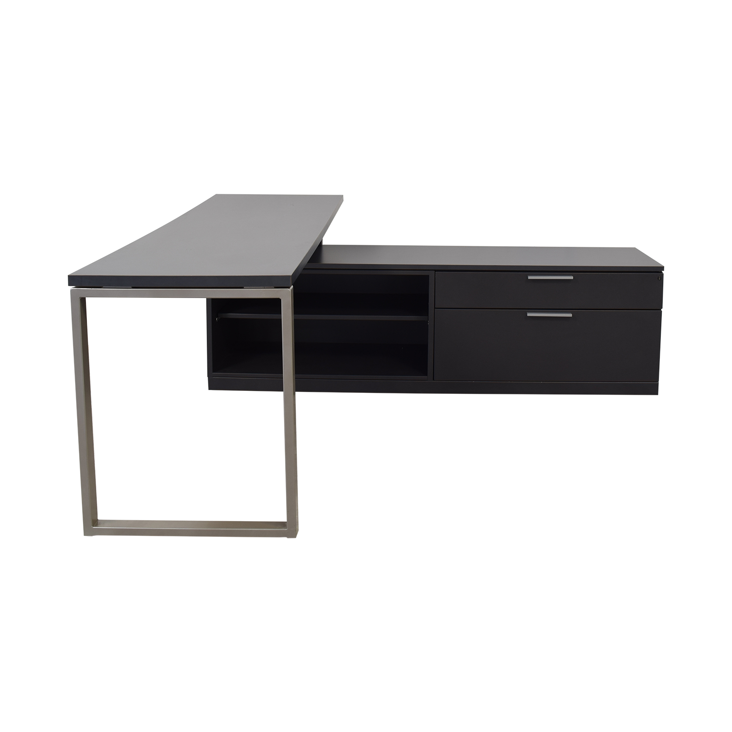 Herman Miller Herman Miller L-Shaped Workdesk and Credenza dark grey