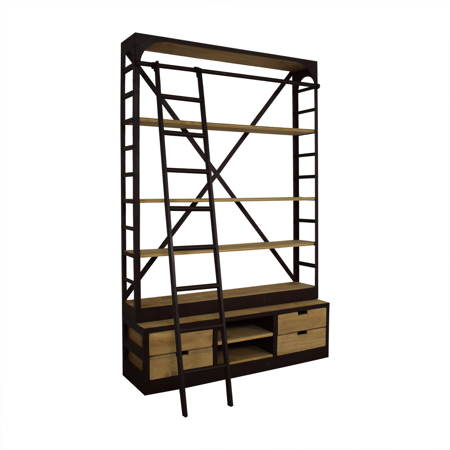 Restoration Hardware Restoration Hardware 1950s Dutch Shipyard Triple Shelving with Ladder used