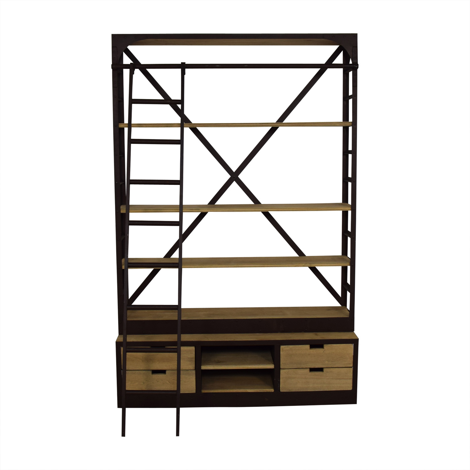 Restoration Hardware Restoration Hardware 1950s Dutch Shipyard Triple Shelving with Ladder dimensions