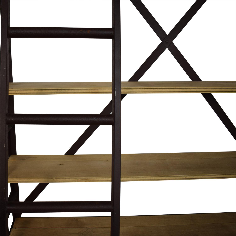 buy Restoration Hardware 1950s Dutch Shipyard Triple Shelving with Ladder Restoration Hardware Storage