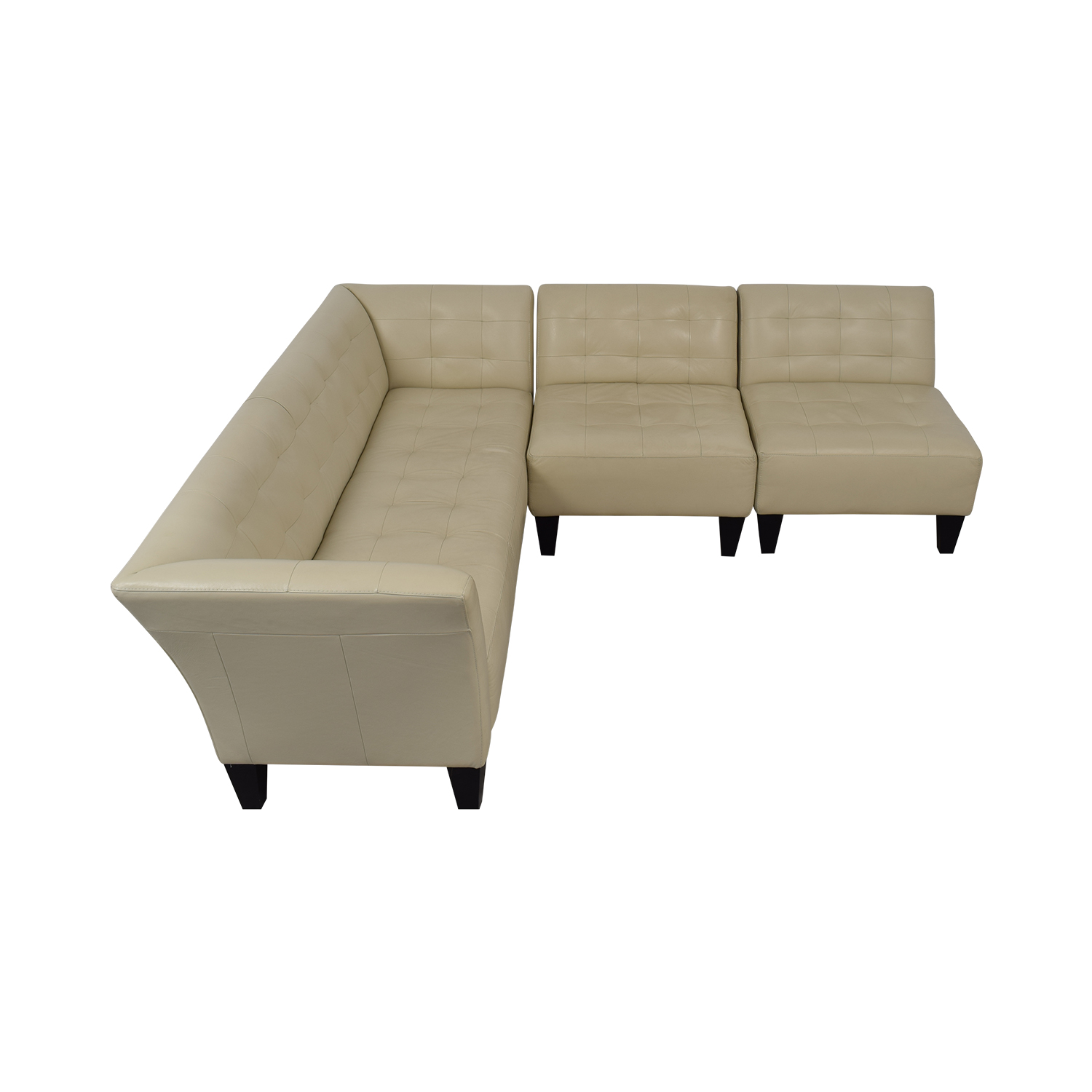 Chateau d'Ax Chateau d'Ax White Faux Leather Sectional Sofa Sectionals