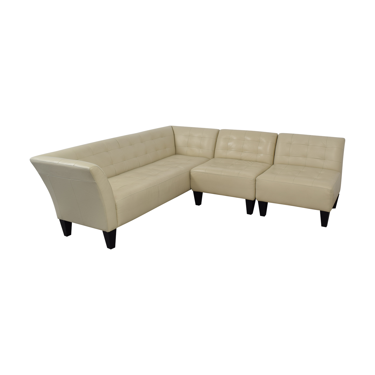 Chateau d'Ax Chateau d'Ax White Faux Leather Sectional Sofa used