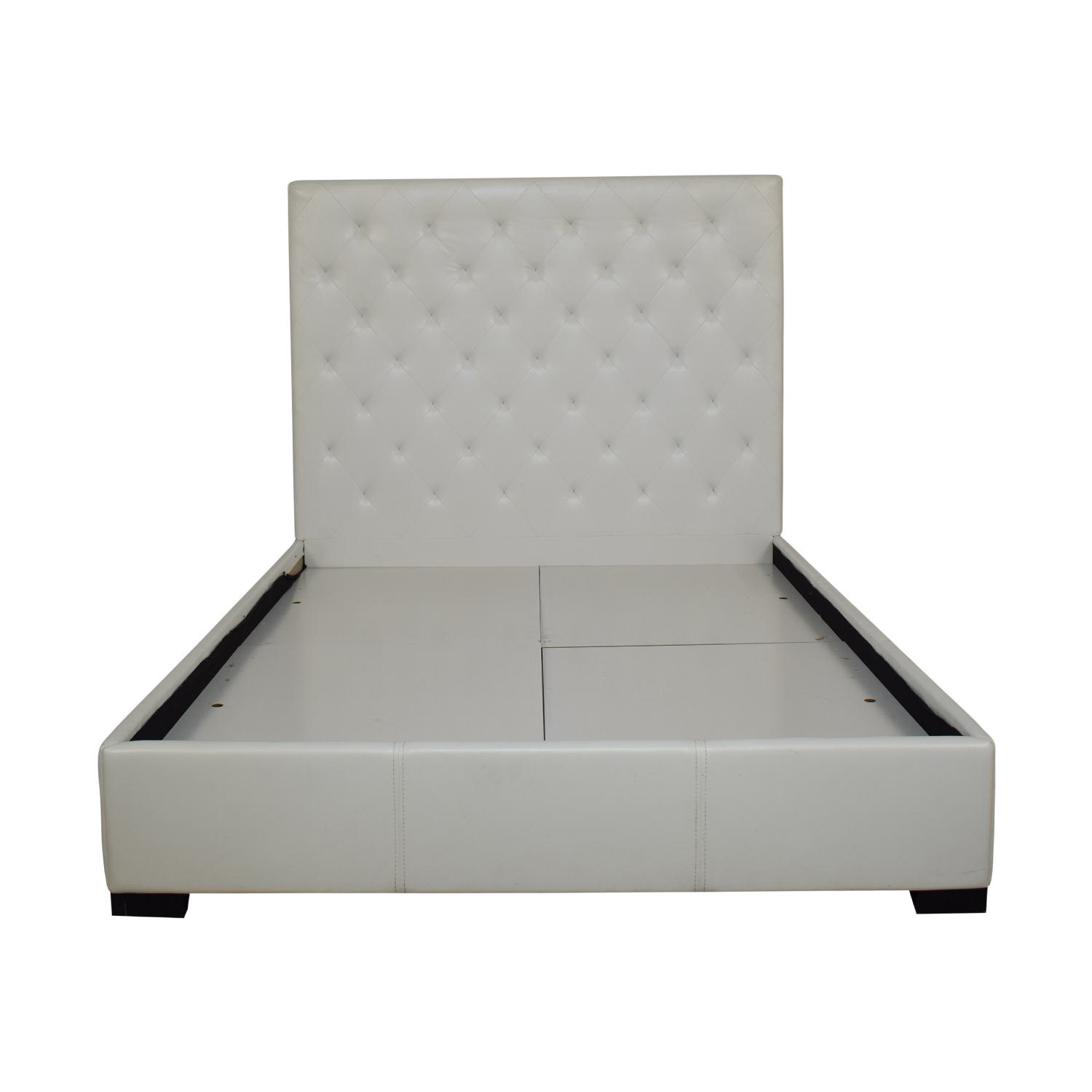 Modani White Eco Leather Queen Bed / Bed Frames