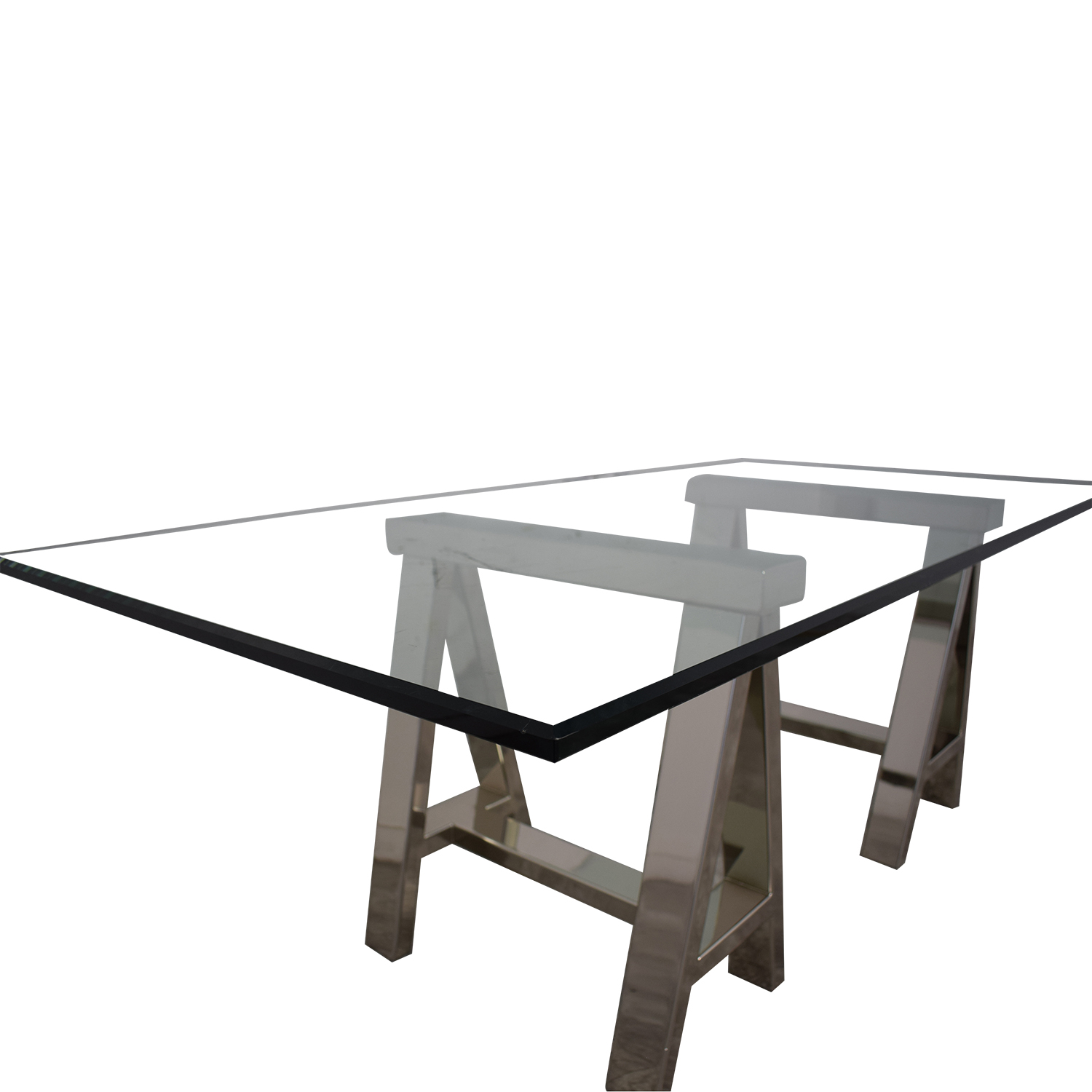 Williams Sonoma Williams Sonoma Mason Large Glass-Top Table or Desk with Polished Stainless Horses price