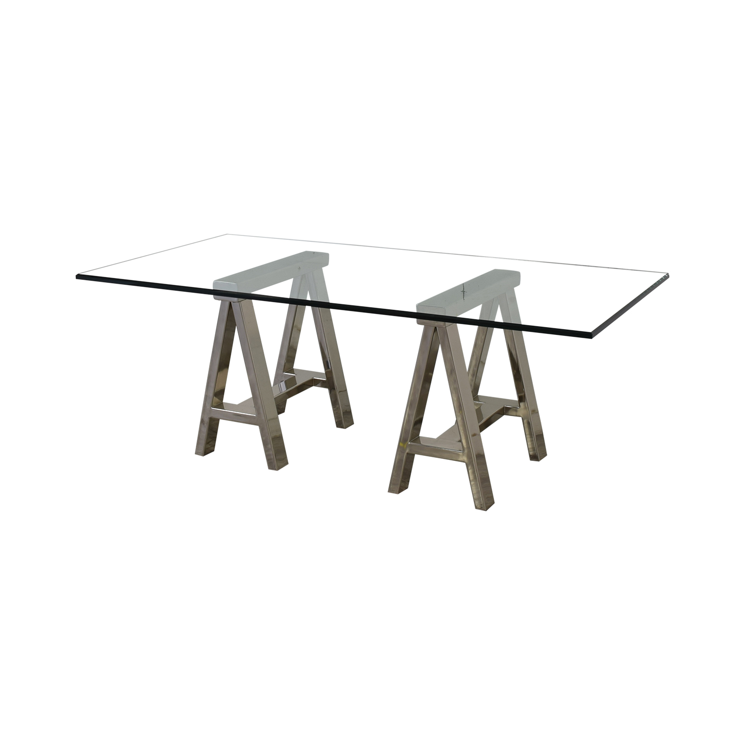 Williams Sonoma Williams Sonoma Mason Large Glass-Top Table or Desk with Polished Stainless Horses coupon