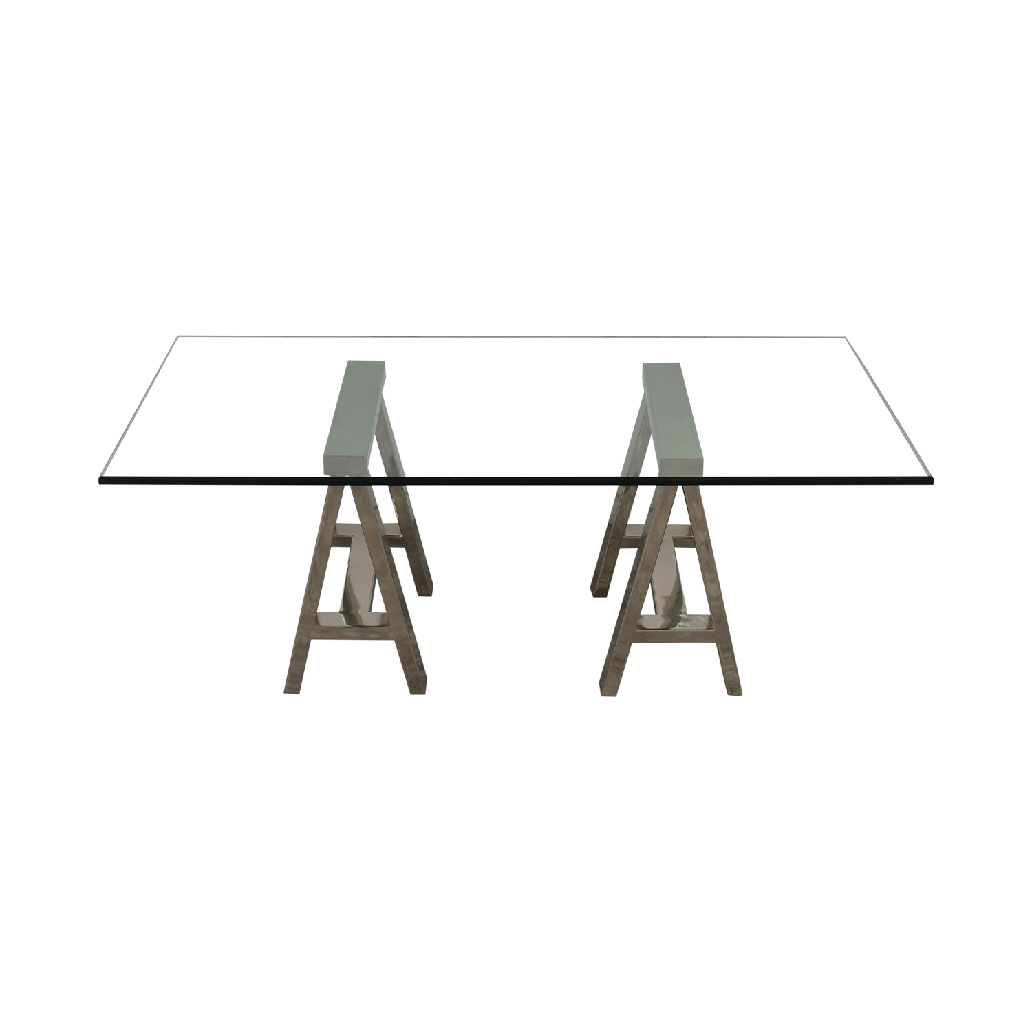 buy Williams Sonoma Mason Large Glass-Top Table or Desk with Polished Stainless Horses Williams Sonoma