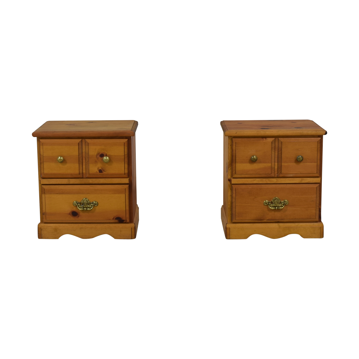 Two Drawer End Tables Light Brown