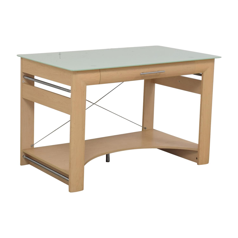 shop Crate & Barrel Glass Top Desk Crate & Barrel