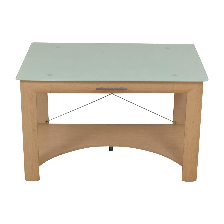 buy Crate & Barrel Glass Top Desk Crate & Barrel Tables