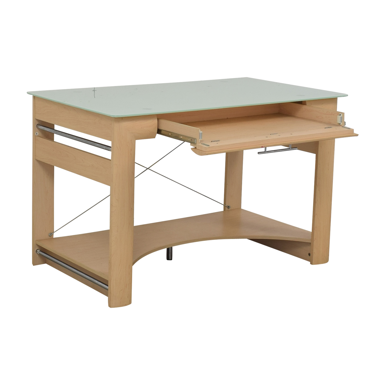 Crate & Barrel Crate & Barrel Glass Top Desk used