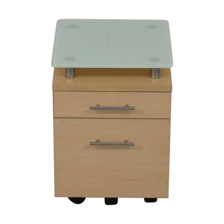 Crate & Barrel Crate & Barrel Glass Top File Cabinet discount